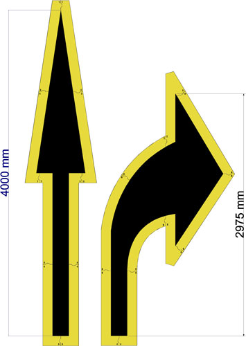 4000mm MODULAR ROAD MARKING ARROW STENCILS - 1.5mm