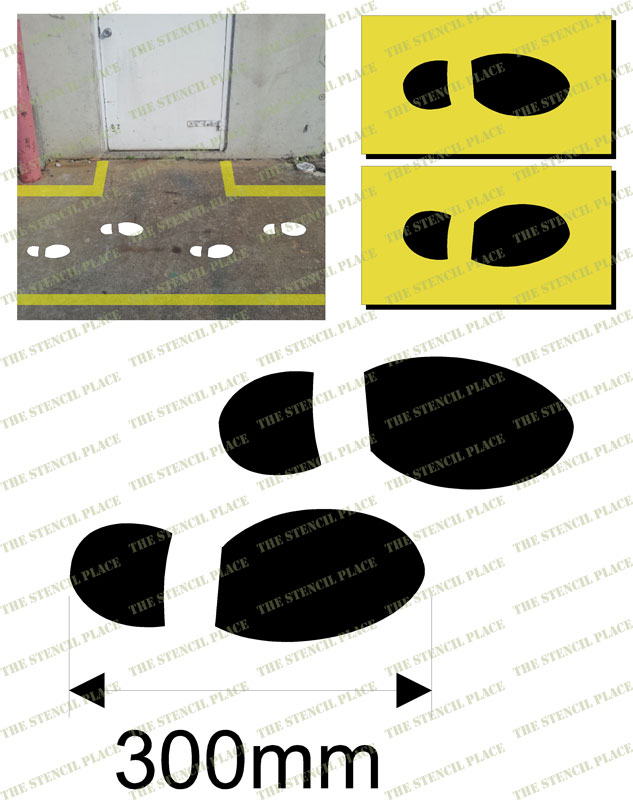 300mm FOOT PRINT STENCILS - set of TWO - 1.5mm